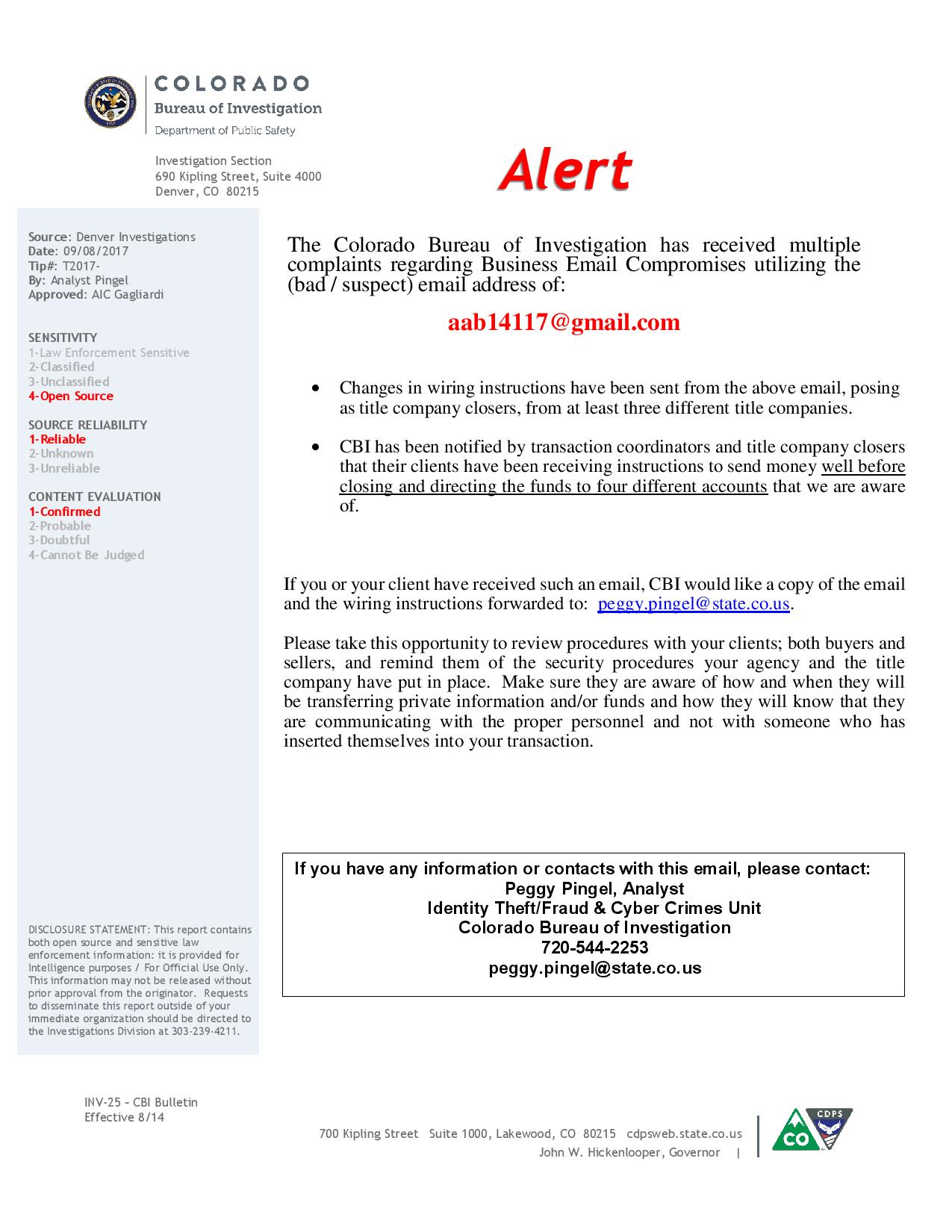 Active Properties Real Estate Email Internet Fraud Alert Colorado Wiring Money Safety Bureau Of Investigations